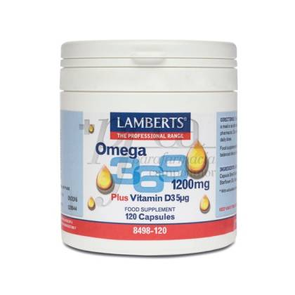 OMEGA 3-6-9 1200MG PLUS VITAMIN D3 120 CAPSULES 8498 LAMBERTS