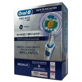 ORAL B ESCOVA ELÉTRICA PRO600 3D WHITE + PRESENTE PROMO