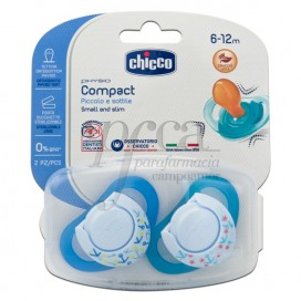 CHICCO 2 PACIFIERS PHYSIO COMPACT RUBBER 6M+ BOY