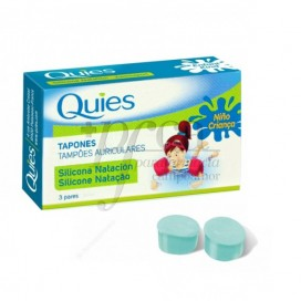 QUIES KIDS SILICONE EARPLUGS FOR SWIMMING 6 UNITS
