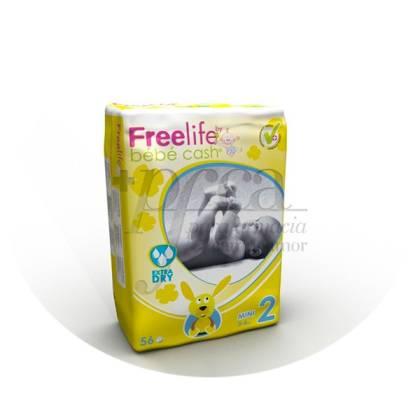 BEBE CASH FREELIFE 2 MINI 3-6 KG 56 PAÑALES