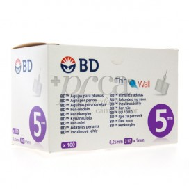 BD THIN WALL 31G 0,25X5 MM 100 UNITS
