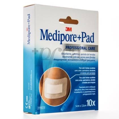 MEDIPORE PAD APOSITO 5X7.2 CM 10 UDS
