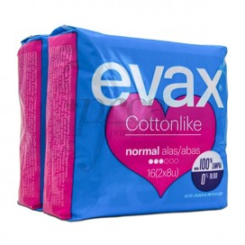 COMPRESAS EVAX COTTONLIKE NORMAL ALAS 16 U
