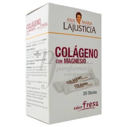 LA JUSTICIA COLAGENO MAGNESIO FRESA 20 STICKS