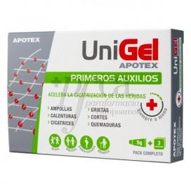 UNIGEL PRIMEROS AUXILIOS 5 G 3 APOSITOS APOTEX