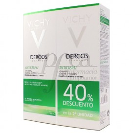 DERCOS CHAMPU ANTICASPA CABELLO GRASO 2X200 ML PROMO