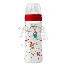 CHICCO SILICONE FEEDING BOTTLE 2M+ 250ML CHRISTMAS EDITION