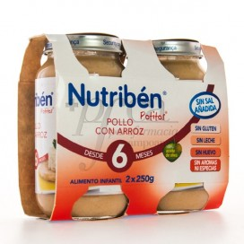 NUTRIBEN POTITOS POLLO CON ARROZ 6M+ 2X 250G