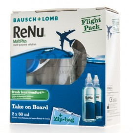 RENU MULTIPLUS 2X60 ML + BOLSA AVION PROMO