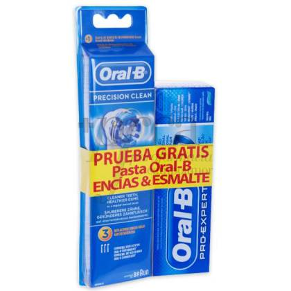 ORAL-B PRECISION CLEAN REPLACEMENT BRUSHES 3 UNITS + TOOTHPASTE PROMO