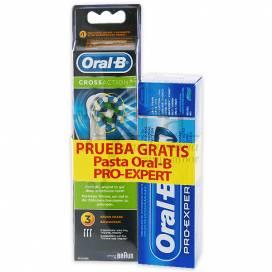 ORAL-B RECAMBIOS CROSSACTION 3 UDS + PASTA 75 ML PROMO