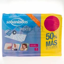 SABANINDAS EXTRA 60X90CM 20+10 UNIDADES PROMO