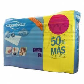 SABANINDAS EXTRA 80X180CM 20+10 UNIDADES PROMO