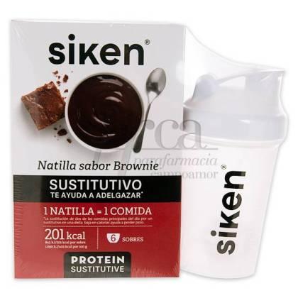 SIKEN PROTEIN SUSTITUTIVE BROWNIE CUSTARD 300 G + SHAKER PROMO