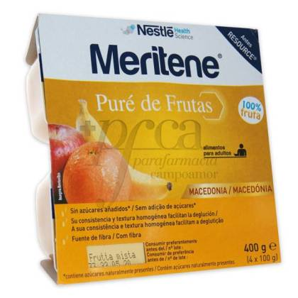 MERITENE RESOURCE PURE DE FRUTAS MACEDONIA 4 X 100 G