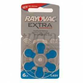 RAYOVAC HEARING AID BATTERIES EXTRA 675 BLUE 6 UNITS