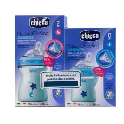 CHICCO FLASCHE NATURAL FEELING 250ML + 150ML BLAU PROMO