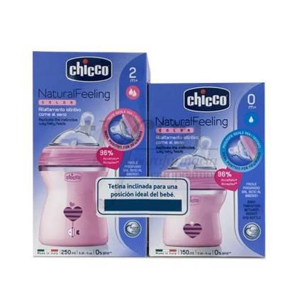 CHICCO NATURAL FEELING FEEDING BOTTLE 250 ML + 150 ML PINK PROMO