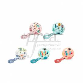 SUAVINEX ROUND SOOTHER CHAIN WITH CLIP 0M+