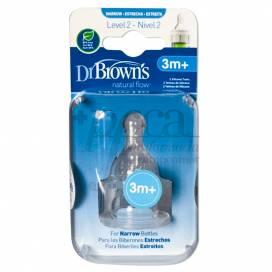 DR BROWNS OPTIONS+ 2 SILICONE TEATS STANDARD N2 3M