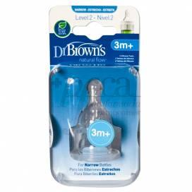 DR BROWNS OPTIONS+ 2 TETINAS DE SILICONE PADRÃO L2 3M+