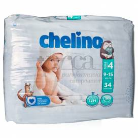 CHELINO LOVE FRALDAS TAMANHO 4 9-15KG 34 UNIDADES