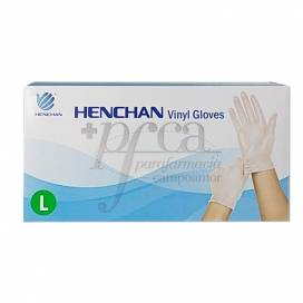 HENCHAN VINYL GLOVES WITHOUT POWDER SIZE L 100 UNITS
