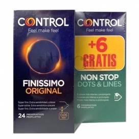 CONTROL PRESERVATIVOS FINISIMO 24 UNIDADES + NON STOP 6 UNIDADES PROMO