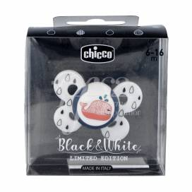 CHICCO SILICONE ORTHODONTIC PACIFIER LIMITED EDITION BLACK&WHITE 6-16M