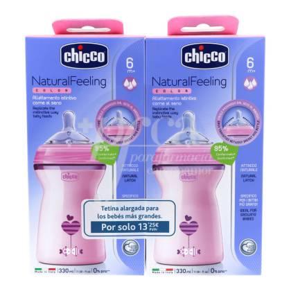CHICCO FEEDING BOTTLE NATURAL FEELING 330 ML + 330 ML PINK PROMO