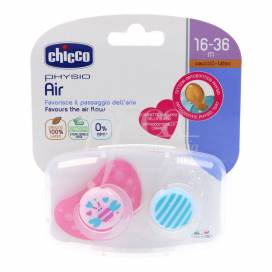 CHICCO PHYSIO AIR RUBBER PACIFIER GIRL 16-36M 2 UNITS