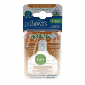 DR BROWNS OPTIONS+ WIDE NECK SILICONE TEATS Y CUT 9M+ 2 UNITS