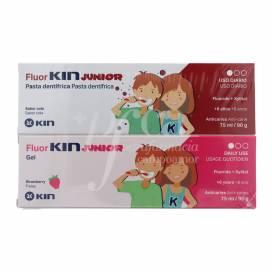 FLUORKIN JUNIOR ANTICARIES PASTA SABOR COLA 75 ML + GEL FRESA 75 ML PROMO