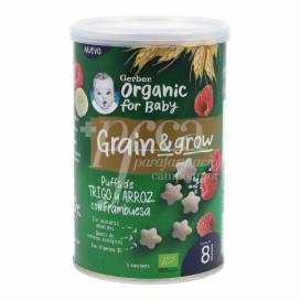 GERBER SNACK ORGANIC WHEAT RICE WITH RASPBERRY 35 G +8M