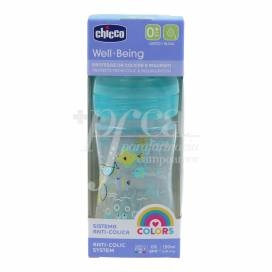 CHICCO WELL-BEING BLUE FEEDING BOTTLE SILICONE 0M+ 150ML