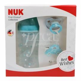 NUK BABY FLASCHENSET FC+0-6 M 300 ML+ SILIKON HD SCHNULLER MIT KINDERKETTE