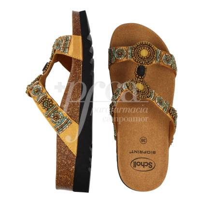SCHOLL NEW BOGOTA WEDGE SANDAL GOLD SIZE 38
