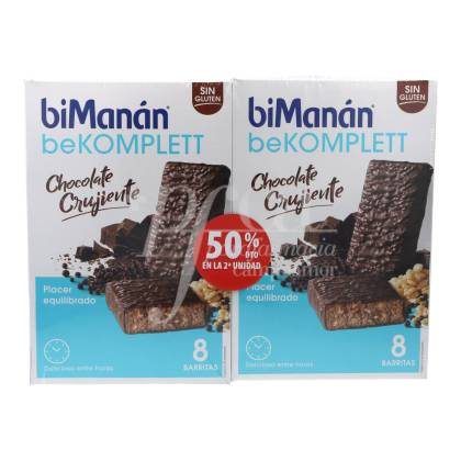 BIMANAN BEKOMPLETT BARRINHAS CHOCOLATE CROCANTES 2X8 UNIDADES PROMO