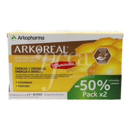 ARKOREAL ROYAL JELLY WITH VITAMINS 2X20 AMPOULES ORANGE FLAVOUR PROMO