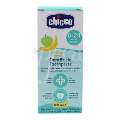 CHICCO TOOTHPASTE APPLE AND BANANA WITH FLUORINE 6-24M 50 ML