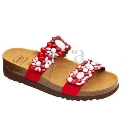 SCHOLL SANDAL ALICIA 2 STRAPS RED AND WHITE SIZE 38