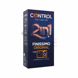 CONTROL CONDOMS FINISSIMO 2 IN 1 + LUB GEL 6 UNITS