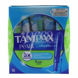 TAMPONES TAMPAX COMPAK PEARL SUPER 16 UNIDADES