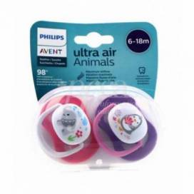 AVENT SILICONE PACIFIER ANIMALS 6-18 M 2 UNITS