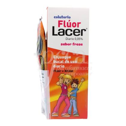 FLUOR LACER MOUTHWASH 0,05% STRAWBERRY FLAVOUR 500 ML + GIFT PROMO