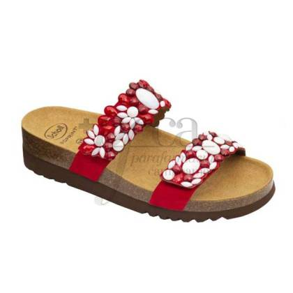 SCHOLL SANDAL ALICIA 2 STRAPS RED AND WHITE SIZE 36