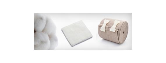 Cotton, gauze and bandages
